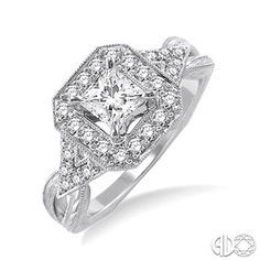 Vintage Inspired Halo Diamond Engagement Ring with 1/2 Ct Princess Cut Center Stone in 14K White Gold #IDo