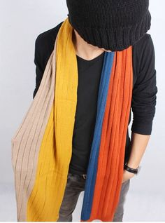 Yellow Blue Color Winter Warm Wool Scarf