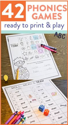 Grab yourself a free print and play phonics game by downloading the preview of this product! There are 64 different phonics games that only need some crayons and dice! See some of the games over on the post.