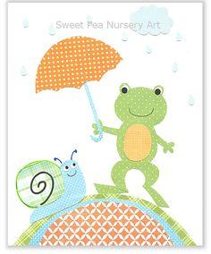 Frog Nursery Art, Boy Nursery, Blue, Green, Orange Nursery, Boys Room, Snail Nursery, 8 x 10 Print, Cute Nursery Art