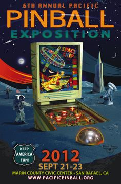 Pacific Pinball Expo poster design by Michael Schiess and Nick Chase