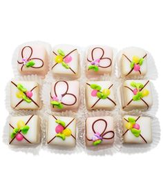 From a classic New York City-based bakery, these jewel-like treats, available in square or heart shapes, are handmade every day. Each cake is studded with dried fruit and enrobed in a thick layer of icing.