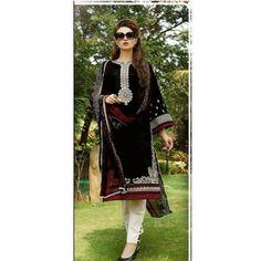 Black Color Cotton Embroidered Work Salwar suit