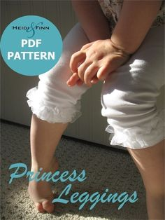 Princess Leggings PDF pattern and tutorial 6M - 6T easy sew