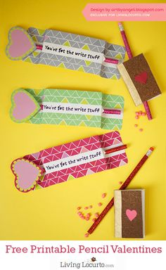 Adorable Free Printable Pencil Holder for Classroom Valentine's Day Cards. Great last minute Valentine idea! My Funny Valentine, Valentines Day Treats, Valentine Day Love, Valentines For Kids, Valentine Day Crafts, Valentine's Day Printables, Making Ideas, Creations, Cards
