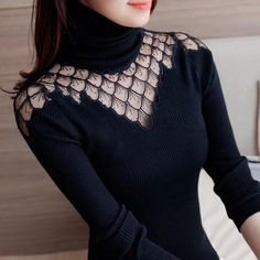 Turtleneck Sweater Women 2019 Autumn Winter New Style Pullover Lace Knitted Shirts Sexy See Through Splice Tops Sweaters Blusas Lace Sweater, Long Sleeve Sweater, Winter Sweaters, Sweaters For Women, High Fashion Looks, Style Fashion, Fashion 2017, Fashion Boots, Fashion Designer