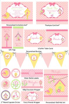 kits imprimibles free - Google Search Personalised Bunting, Personalized Gift Tags, Personalized Invitations, Tea Party Birthday, Baby Birthday, Birthday Party Themes, Envelopes, Planners, Party Printables
