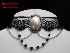 Black lace victorian choker gothic lolita por BloodyMaryAccesorios