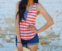 Patriotic Tank Top | Jane #veryjane #americanpride See the Affiliate Program here:  http://www.shareasale.com/shareasale.cfm?merchantID=%2043844