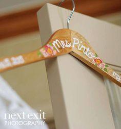 Custom Painted Bridal Hanger, Bridal Shower Gift, Bridesmaid Hanger, Bridesmaid Gift by Limefish Studio ( LIMEFISHSHOP on ETSY )