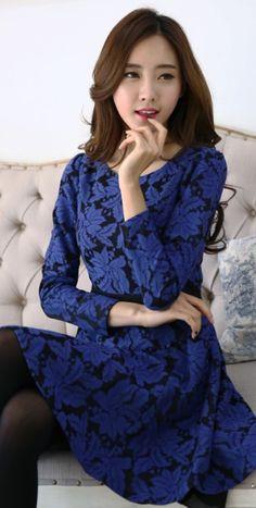 Blue Leafs printed long sleeve dress YRB0742