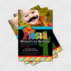 FIESTA PARTY INVITATIONS Birthday Cinco de Mayo Mustache Celebration (print your own) Personalized Printable. $9.00, via Etsy.