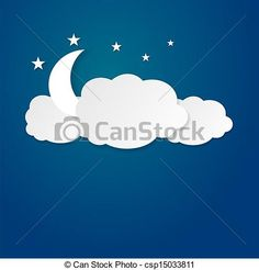 Vector - Moon between the clouds - stock illustration, royalty free illustrations, stock clip art icon, stock clipart icons, logo, line art, EPS picture, pictures, graphic, graphics, drawing, drawings, vector image, artwork, EPS vector art