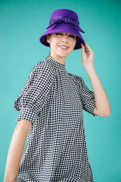 Marisa: Purple Bucket Hat with Silk Bow