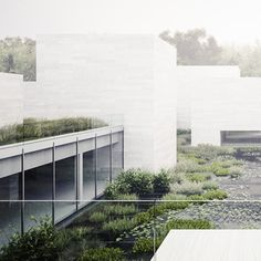 large mass volumes with light glass + integration of water (pool) into the building Data Architecture, Architecture Visualization, Architecture Graphics, Architecture Drawings, Contemporary Architecture, Landscape Architecture, Landscape Design, Studios, Garden Office