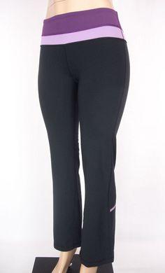 LULULEMON Pants Size 4 S Black Purple Wide Leg Vtg #Lululemon #PantsTightsLeggings