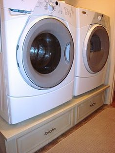 DIY Washer & Dryer Pedestal...I think we should do this even without the front load units...would be alot easier getting clothes out of the dryer.