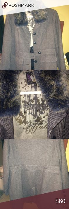 Buffalo David bitton long coat size XL Buffalo David buttion long coat detachable fur very warm smoke free home its like a deep blue very nice Buffalo David Bitton Jackets & Coats Pea Coats