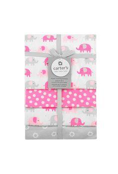 Carter's Pink Elephants 4-Pack Flannel Receiving Blankets. Cotton  BlanketsReceiving BlanketsBaby ...