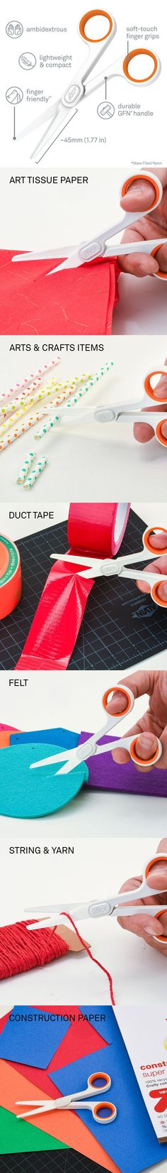 Slice's Ceramic Scissors are next-generation safety tools for adults and children alike. With soft-touch finger grips and an ambidextrous design, these lightweight and compact scissors feature Slice's patented finger-friendly ceramic safety blades. Sharp enough to cut paper and fabric effectively, the Ceramic Scissor blades never rust, are non-magnetic and non-conductive, and stay sharp up to 10x longer than steel.