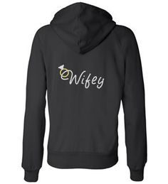 Custom RHINESTONE Wifey  Full Zip Hoodie and SUPER SOFT available white, black, pink, or gray Great Gift for brode. $37.95, via Etsy.
