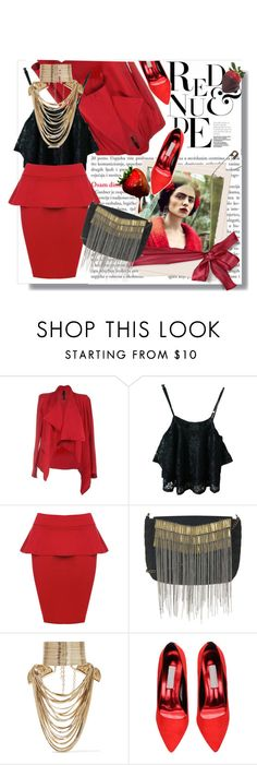 """""""Fiery red"""" by pavicmartina ❤ liked on Polyvore featuring WearAll, Topshop, Rosantica, women's clothing, women's fashion, women, female, woman, misses and juniors"""