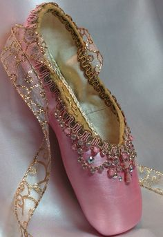 40440cfed56d Pink and gold decorated pointe shoe with by DesignsEnPointe Dance Costumes  Ballet