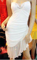 $11.11 Sexy Strapless Rhinestone Embellished Irregular Flounce Hem Fitted Dress For Women