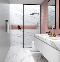 15 design ideas for chic bathroom tiles Bathroom Tile Designs, Trends & Ideas - Marble Bathroom Dreams Bathroom Tile Designs, Bathroom Interior Design, Bathroom Ideas, Bathroom Marble, Bathroom Grey, Bathroom Colors, Shower Ideas, Bathroom Flooring, Bathroom Renovations