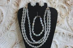 Vintage AB CRYSTAL SET - 3 Strand Necklace, Single Strand Bracelet, Clip on Cluster Style Earrings! Wow! by FrancieLouiseJelly on Etsy