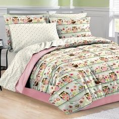 6pc Girl Pink Green Flower Bird Owl Nature Polka Dot Twin Comforter Set (6pc Bed in a Bag)  http://turquoise-bedding.com/azon.php?p=B006OCLAUM  B006OCLAUM