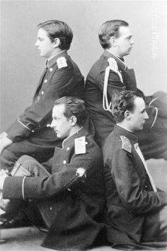 The Romanovs Pyramid: Prince Albert von Sachsen-Altenburg, Grand Duke Alexander (future A III), Alexander's brother Vladimir, and Prince Nikolay of Leuchtenberg.