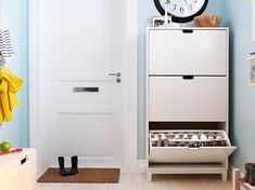 shoe storage in the entry- great for small spaces!