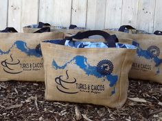 5+ Turks and Caicos Custom Destination Wedding Welcome Beach Tote Bags - Eco-Friendly and Handmade from Recycled Coffee Sacks by WhiteAppleThreads on Etsy https://www.etsy.com/listing/211232820/5-turks-and-caicos-custom-destination
