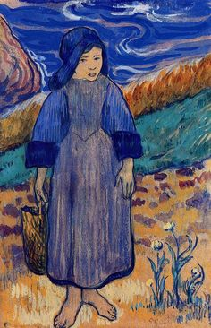 eugène henri paul gauguin(1848-1903), young breton by the sea, 1889. gouache, wax crayon and pencil on paper, laid down on board. private collection http://www.the-athenaeum.org/art/detail.php?ID=2106