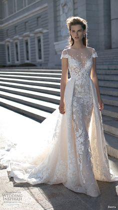 berta fall 2016 bridal beautiful sheath wedding dress cap sleeves bateau illusion neckline overskirt chapel train lace embroidery