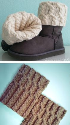 Free Knitting Pattern for UGG HUG Boot Toppers - Cabled boot cuffs designed by Alexandra Davidoff