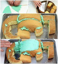 Receta pastel de dragón o pastel de #Dragon ideal para fiestas infantiles o fiestas temáticas. San Jorge #Recetasdivertidas