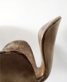 vintage leather swan chair