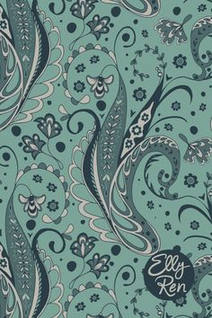 A pretty paisley inspired pattern with lots of hand-drawn details in soft green tones. This pattern is in a half drop mirrored repeat and available as a layered vector graphic @patternbank Walking By, Surface Pattern Design, Repeating Patterns, Portfolio Design, Swirls, Monochrome, Paisley, How To Draw Hands, Pretty