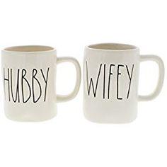 Love these farmhouse style coffee mugs - would look great on my coffee bar! Rae Dunn Hubby & Wifey Coffee Mug Set