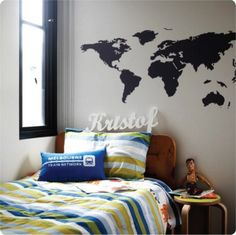 World map removable wall decals