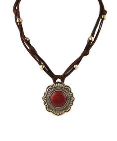 Look what I found on #zulily! Red Turquoise & Brown Leather Pendant Necklace #zulilyfinds
