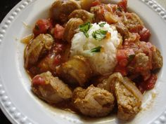 Sausage, Vidalia Onions and Tomatoes.  Great for week night suppers.