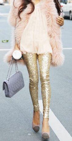 Sequin leggings + a big comfy coat. Chic.