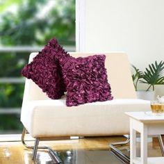 Ruffled purple cushion cover