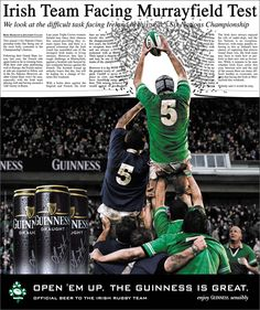 Irish Rugby advertising/design -- graphic that doesn't stay where it belongs. Sports Advertising, Native Advertising, Advertising Design, Irish Rugby Team, Leinster Rugby, Rugby Memes, Ads Creative, Creative Design, Sports Graphics