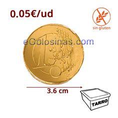 La Moneda Mediana 36mm de Chocolate de Simon Coll son monedas de chocolate con leche envueltos ideales para Navidad. Se venden en tarros de 300 unidades. Sin Gluten