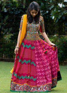 Multi Color Navratri Chaniya Choli With Mirror Work Blouse #Chaniya choli #Mirror Work #Multi Color
