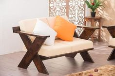 Buy Solid Wood New Crossia Sofa Set Online in India - Latest Sofa Designs Collection Sofa Design Images, Ikea Cubbies, Latest Sofa Designs, Wood Online, Sofa Set Online, Wooden Sofa Designs, Wood Sofa, Furniture For Small Spaces, Outdoor Sofa